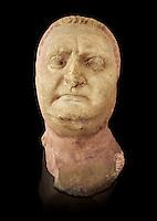 Roman sculpture of the Emperor Vitellius, excavated  from Althiburos sculpted circa 20 April 69-20 Dec 69AD. The Bardo National Museum, Tunis, Inv No: C.1784.  Against a black background.