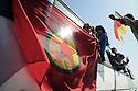 Iraq 2009 .Iraqi supporters of the PKK with a flag of the party on their way to the Turkish border .Irak 2009.Sympathisants du PKK en route pour la frontiere turque avec un drapeau du parti