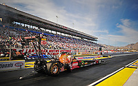 Mar. 30, 2012; Las Vegas, NV, USA: NHRA top fuel dragster driver Terry McMillen during qualifying for the Summitracing.com Nationals at The Strip in Las Vegas. Mandatory Credit: Mark J. Rebilas-
