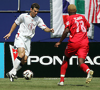 July 24, 2005: East Rutherford, NJ, USA:  USMNT defender Greg Vanney (3) keeps the ball away from Panama's Luis Tejada (18) during the CONCACAF Gold Cup Finals at Giants Stadium.  The USMNT won 3-1 on penalty kicks.