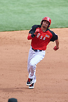 Team USA Brandon Nimmo (9) running the bases during the MLB All-Star Futures Game on July 12, 2015 at Great American Ball Park in Cincinnati, Ohio.  (Mike Janes/Four Seam Images)