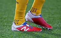Aaron Ramsey of Arsenal new balance football boots displaying his son name SONNY during the Premier League match between Bournemouth and Arsenal at the Goldsands Stadium, Bournemouth, England on 3 January 2017. Photo by Andy Rowland.
