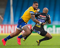 Exeter Chiefs' Tom O'Flaherty is tackled by Bath Rugby's Joe Cokanasiga<br /> <br /> Photographer Bob Bradford/CameraSport<br /> <br /> Gallagher Premiership Semi-Final - Exeter Chiefs v Bath Rugby - Saturday 10th October 2020 - Sandy Park - Exeter<br /> <br /> World Copyright © 2020 CameraSport. All rights reserved. 43 Linden Ave. Countesthorpe. Leicester. England. LE8 5PG - Tel: +44 (0) 116 277 4147 - admin@camerasport.com - www.camerasport.com