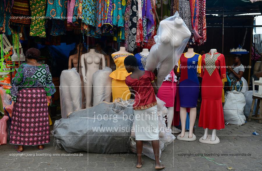 TOGO, Lome, Grande Marche, Grand Market, sale of textiles made in china / Grosser Markt, Textilmarkt, Verkauf von Kleidung made in china