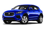 Stock pictures of low aggressive front three quarter view of a 2018 Jaguar E Pace R Dynamic 5 Door SUV