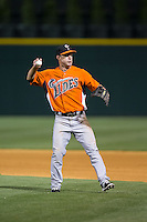 Norfolk Tides second baseman Jayson Nix (12) makes a throw to first base against the Charlotte Knights at BB&T BallPark on April 9, 2015 in Charlotte, North Carolina.  The Knights defeated the Tides 6-3.   (Brian Westerholt/Four Seam Images)