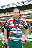 Geordan Murphy of Leicester Tigers celebrates winning the LV= Cup Final match between Leicester Tigers and Northampton Saints at Sixways Stadium, Worcester on Sunday 18 March 2012 (Photo by Rob Munro, Fotosports International)