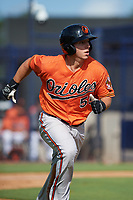 Baltimore Orioles Tim Nichting (55) runs to first base during an Instructional League game against the New York Yankees on September 23, 2017 at the Yankees Minor League Complex in Tampa, Florida.  (Mike Janes/Four Seam Images)