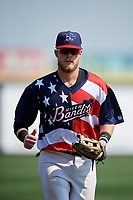 Quad Cities River Bandits left fielder Seth Beer (35) jogs back to the dugout during a game against the West Michigan Whitecaps on July 23, 2018 at Modern Woodmen Park in Davenport, Iowa.  Quad Cities defeated West Michigan 7-4.  (Mike Janes/Four Seam Images)