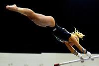 BARRANQUILLA - COLOMBIA, 22-07-2018: Andrea Maldonado, gimnasta de Puerto Rico, durante su participación en gimnasia mujeres modalidad Barras Asimétricas, como parte de los Juegos Centroamericanos y del Caribe Barranquilla 2018. /  Andrea Maldonado, gymnast of Puerto Rico, during her participation in women's gymnastics Bar Asymmetric mode, during her participation in women's gymnastics asymmetric bars, as a part of the Central American and Caribbean Sports Games Barranquilla 2018. Photo: VizzorImage / Alfonso Cervantes / Cont.