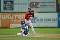 Billings Mustangs second baseman Urwin Juaquin (13) attempts to turn a double play as James Outman (47) slides into second base during a Pioneer League game against the Ogden Raptors at Lindquist Field on August 17, 2018 in Ogden, Utah. The Billings Mustangs defeated the Ogden Raptors by a score of 6-3. (Zachary Lucy/Four Seam Images)