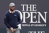 14th July 2021; The Royal St. George's Golf Club, Sandwich, Kent, England; The 149th Open Golf Championship, practice day; Jon Rahm (ESP) prepares to hi his tee shot on the opening hole