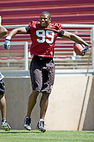12 April 2007: Former players return to Stanford to play in the Alumni game at Stanford Stadium in Stanford, CA. Pictured is Emmanuel Awofadeju.