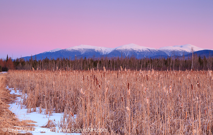Pondicherry Wildlife Refuge - Scenic view of the Presidential Range from the Presidential Range Rail Trail (Cohos Trail) near Cherry Pond in Jefferson, New Hampshire just after sunset on a winter day. This trail utilizes the old railroad bed of the Boston & Maine's Berlin Branch, which was abandoned and removed in the 1990s.