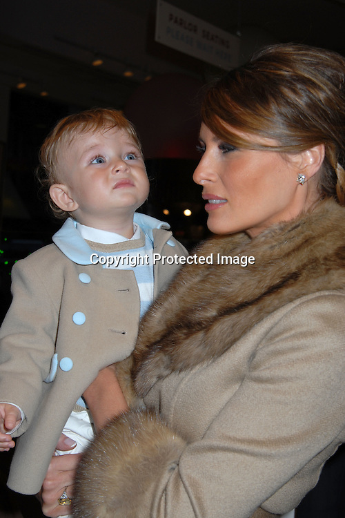 """Barron and Melania Trump.. at the 16th annual Bunny Hop at ..FAO Schwarz benefitting """"The Society of Memorial Sloan-..Kettering Cancer Center  on March 13, 2007. ..Robin Platzer, Twin Images"""
