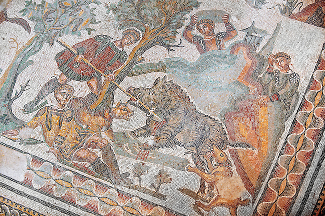 Hunter about to spearing a wild boar from the Room of The Small Hunt, no 25 - Roman mosaics at the Villa Romana del Casale which containis the richest, largest and most complex collection of Roman mosaics in the world, circa the first quarter of the 4th century AD. Sicily, Italy. A UNESCO World Heritage Site.