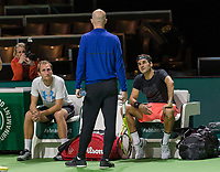 Rotterdam, Netherlands, 11 februari, 2018, Ahoy, Tennis, ABNAMROWTT,  Roger Federer practising with Thiemo de Bakker in the middle coach Ljubicic<br /> Photo: Henk Koster/tennisimages.com