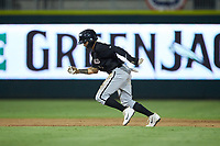 Ramon Beltre (1) of the Kannapolis Intimidators takes off for third base during the game against the Augusta GreenJackets at SRG Park on July 6, 2019 in North Augusta, South Carolina. The Intimidators defeated the GreenJackets 9-5. (Brian Westerholt/Four Seam Images)