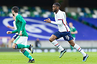 BELFAST, NORTHERN IRELAND - MARCH 28: Jordan Siebatcheu #16 of the United States during a game between Northern Ireland and USMNT at Windsor Park on March 28, 2021 in Belfast, Northern Ireland.