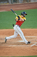 Anthony Bemboom (2) of the Salt Lake Bees at bat against the Oklahoma City Dodgers at Smith's Ballpark on August 1, 2019 in Salt Lake City, Utah. The Bees defeated the Dodgers 14-4. (Stephen Smith/Four Seam Images)