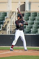 James Baldwin (37) of the Kannapolis Intimidators at bat against the West Virginia Power at CMC-Northeast Stadium on April 21, 2015 in Kannapolis, North Carolina.  The Power defeated the Intimidators 5-3 in game one of a double-header.  (Brian Westerholt/Four Seam Images)