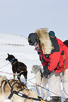 Musher Mitch Seavey checks on his dogs at Candle, the half way point of the 2008 All Alaska Sweepstakes sled dog race.