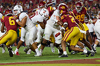 LOS ANGELES, CA - SEPTEMBER 11: Isaiah Sanders #0 of the Stanford Cardinal runs on a quarterback keeper during a game between University of Southern California and Stanford Football at Los Angeles Memorial Coliseum on September 11, 2021 in Los Angeles, California.