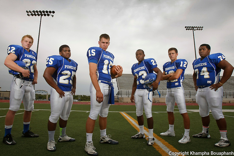 The top Boswell Pioneers football players are photographed at Boswell High School in Fort Worth on Thursday August 15, 2013. (photo by Khampha Bouaphanh)