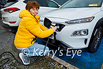 Carol Leahy from West Kerry receives her new Hyundai Kona electric car from the ESB Network at Adams Garage on Monday.