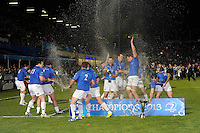 Leinster celebrate winning the Amlin Challenge Cup Final between Leinster Rugby and Stade Francais at the RDS Arena, Dublin on Friday 17th May 2013 (Photo by Rob Munro).
