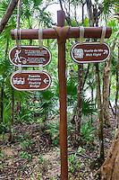Trail Signs along a Nature Trail, Xel Ha Eco-adventure Park, Playa del Carmen, Riviera Maya, Yucatan, Mexico.