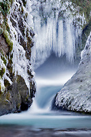 Base of Bridal Veil Falls with ice. Columbia River Gorge National Scenic Area. Oregon