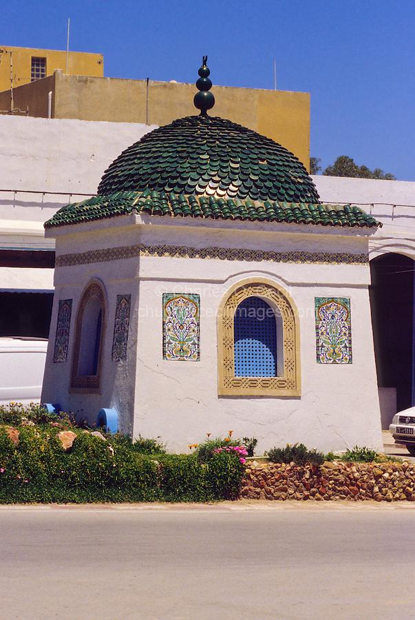 Ceramics, Nabeul, Tunisia.  Street Tomb, Sidi Maaouia.  Floral Wall Panels, Green Roof Tiles.