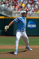 North Carolina pitcher Kent Emanuel (41) delivers a pitch to the plate during Game 3 of the 2013 Men's College World Series against the North Carolina State Wolfpack at TD Ameritrade Park on June 16, 2013 in Omaha, Nebraska. The Wolfpack defeated the Tar Heels 8-1. (Andrew Woolley/Four Seam Images)