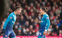 Hector Bellerin of Arsenal celebrates his goal with Granit Xhaka of Arsenal during the Premier League match between Bournemouth and Arsenal at the Goldsands Stadium, Bournemouth, England on 14 January 2018. Photo by Andy Rowland.