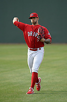Starting pitcher Alex Scherff (18) of the Greenville Drive warms up before a game against the Rome Braves on Saturday, April 20, 2019, at Fluor Field at the West End in Greenville, South Carolina. Rome won, 5-4. (Tom Priddy/Four Seam Images)