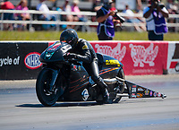 Sep 5, 2020; Clermont, Indiana, United States; NHRA pro stock motorcycle rider Marc Ingwersen during qualifying for the US Nationals at Lucas Oil Raceway. Mandatory Credit: Mark J. Rebilas-USA TODAY Sports