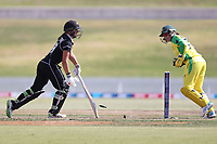 4th April 2021; Bay Oval, Taurange, New Zealand;  White Ferns Amelia Kerr does not make the crease and is stumped by Australia's wicket keeper Alyssa Healy during the 1st women's ODI White Ferns versus Australia Rose Bowl cricket match at Bay Oval in Tauranga.