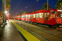 Light-rail trolley at the Gaslamp District stop, downtown San Diego, California.
