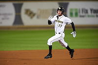 UCF Knights pinch runner Maximillian Wood (17) running the bases during a game against the Siena Saints on February 17, 2017 at UCF Baseball Complex in Orlando, Florida.  UCF defeated Siena 17-6.  (Mike Janes/Four Seam Images)