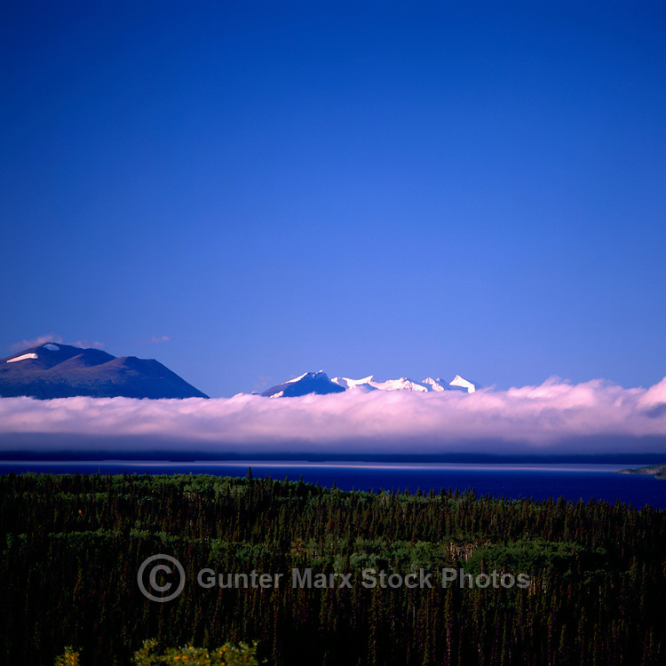 A Low Thick Cloud Bank over Atlin Lake, near Atlin, Northern British Columbia, Canada, in Summer