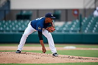 Lakeland Flying Tigers relief pitcher Gerson Moreno (36) looks in for the sign during the first game of a doubleheader against the St. Lucie Mets on June 10, 2017 at Joker Marchant Stadium in Lakeland, Florida.  Lakeland defeated St. Lucie 6-5 in fourteen innings.  (Mike Janes/Four Seam Images)