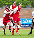 Stirling's Jordan White (9) celebrates after he scores their second goal.