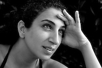 """Palestinian actress Clara Khoury who plays in the Series """"Good Intentions"""" in Tel Aviv . Photo by Quique  Kierszenbaum"""