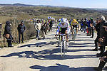 Fabian Cancellara (SUI) Trek Factory Racing and Sep Vanmarcke (BEL) Lotto NL-Jumbo climb Sector 7 Monte Sante Maria of gravel during the 2015 Strade Bianche Eroica Pro cycle race 200km over the white gravel roads from San Gimignano to Siena, Tuscany, Italy. 7th March 2015<br /> Photo: Eoin Clarke/www.newsfile.ie