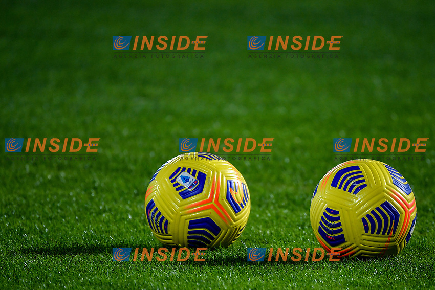 Two official Serie A winter balls are seen on the pitch during the Serie A football match between Spezia Calcio and Atalanta BC at Dino Manuzzi stadium in Cesena (Italy), November 20th, 2020. Photo Andrea Staccioli / Insidefoto