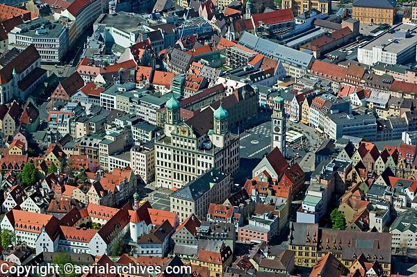 aerial photograph of City Hall, Perlach tower central Augsburg, Bavaria, Germany | Luftaufnahme des Rathauses, Perlachturm Mitte Augsburg, Bayern, Deutschland