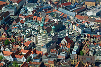 aerial photograph of City Hall, Perlach tower central Augsburg, Bavaria, Germany | Luftaufnahme des Rathauses, Perlachturm Mitte Augsburg, Bayern, Deutschland