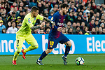 Lionel Andres Messi of FC Barcelona (R) fights for the ball with Vitorino Gabriel Pacheco Antunes of Getafe CF (L) during the La Liga 2017-18 match between FC Barcelona and Getafe FC at Camp Nou on 11 February 2018 in Barcelona, Spain. Photo by Vicens Gimenez / Power Sport Images