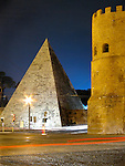 Standing 90 feet tall, The Pyramid of Cestius was built in 12 B.C.  The Porta San Paolo can be seen on the right.